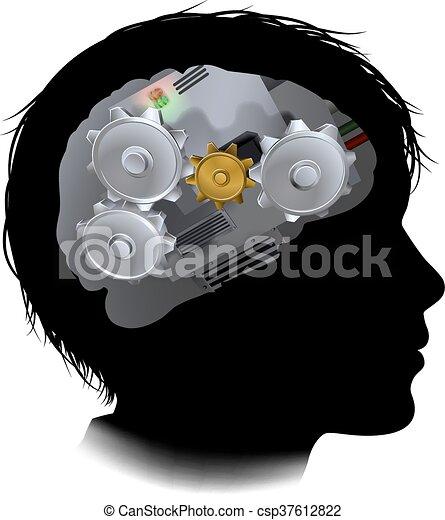 kuggar, maskin, hjärna, utrustar, barn, arbetsgång - csp37612822