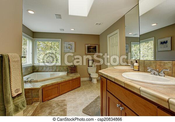 Kuip, hoek, badkamer, ruim, bad. Strip, tub., badkamer, muur ...
