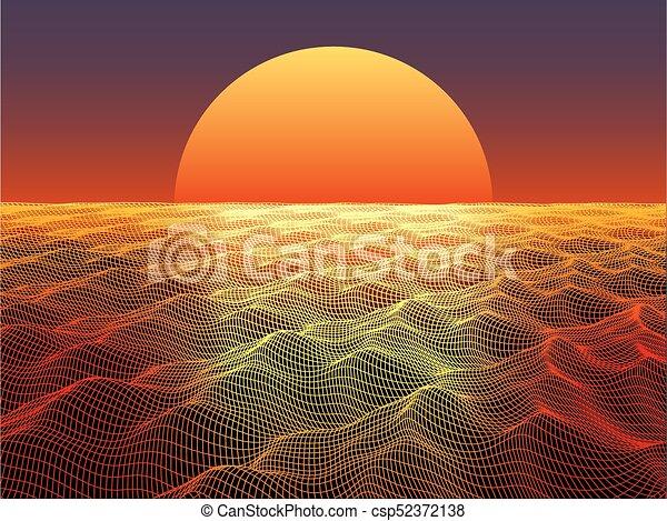 kula, słońce, abstrakcyjny, powierzchnia, woda, tło., horizon., technologia - csp52372138