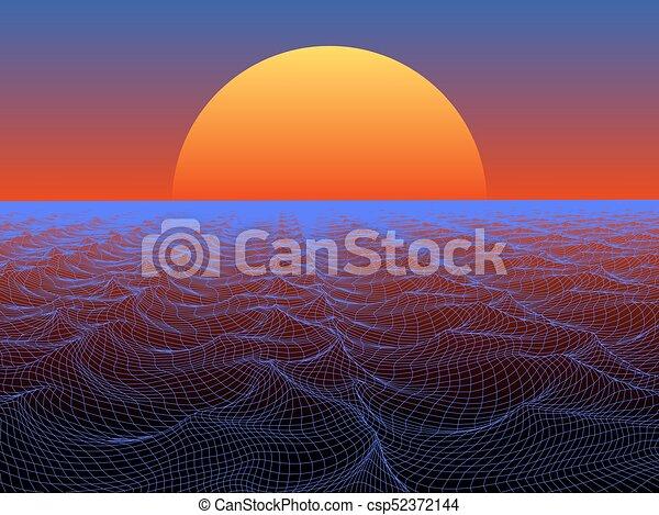 kula, słońce, abstrakcyjny, powierzchnia, woda, tło., wektor, technologia - csp52372144