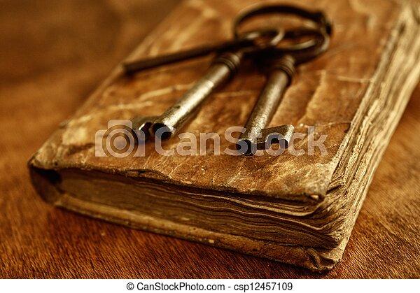 kulcsok, szüret, öreg, fém, book. - csp12457109