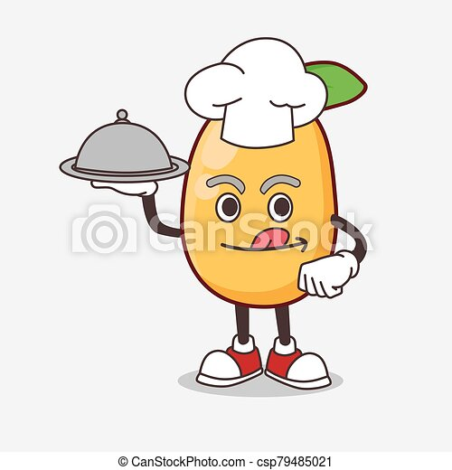 Kumquat Fruit cartoon mascot character as a Chef with food on tray ready to serve - csp79485021
