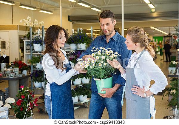 kunde, betriebe, assistieren, blume, floristen, mann, kaufen - csp29413343