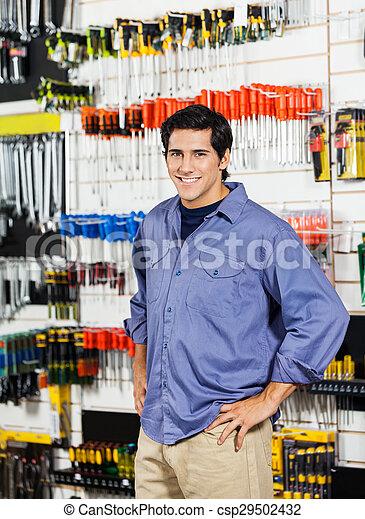 kunde, laden, hüfte, hardware, hände, lächeln - csp29502432