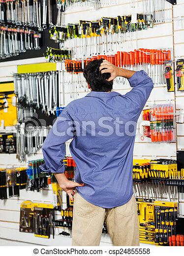 kunde, laden, kopf, verwirrt, hardware, kratzen - csp24855558
