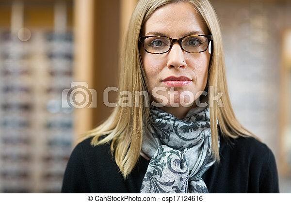 kunde, tragen, kaufmannsladen, weibliche , brille - csp17124616