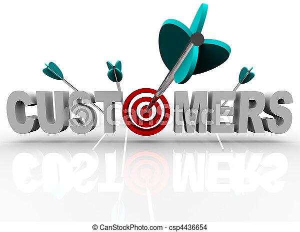 kunden, schlag, ziel, -, pfeile, wort - csp4436654