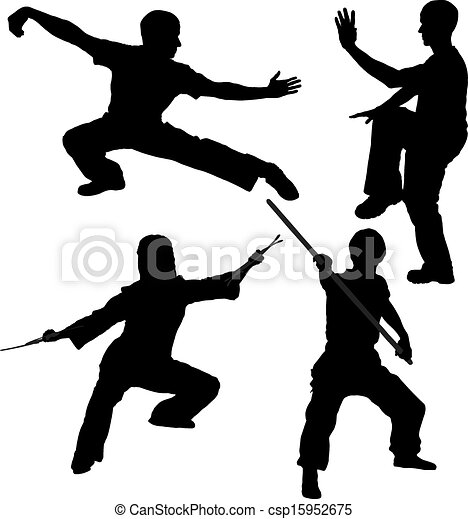 Kung Fu Fighter Silhouette - csp15952675