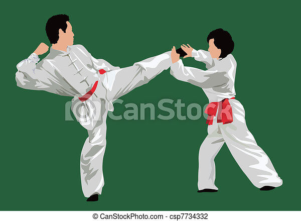 Line Art Illustration Style : Kung fu fighting. men and women fighting in style . vector