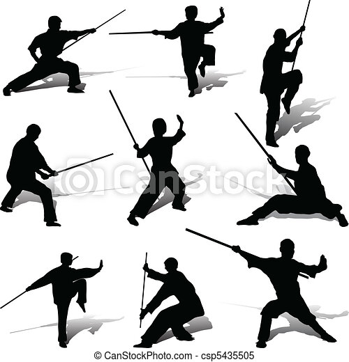 Kung Fu Poses With His Staff