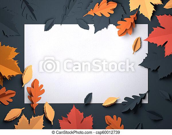 kunst, blätter, -, herbst, papier, hintergrund, herbst - csp60012739