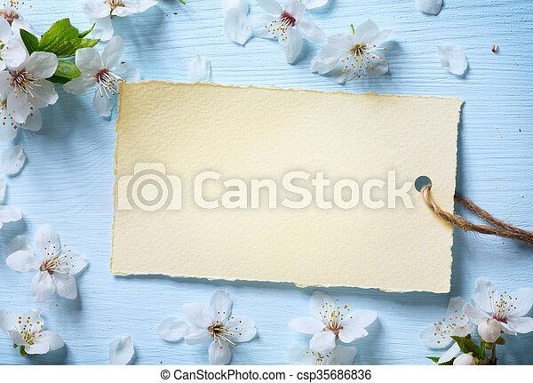 kunst, blossom , lente, achtergrond, floral, witte  - csp35686836