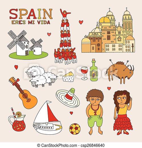 kunst, doodle, reizen, vector, toerisme, spanje - csp26846640