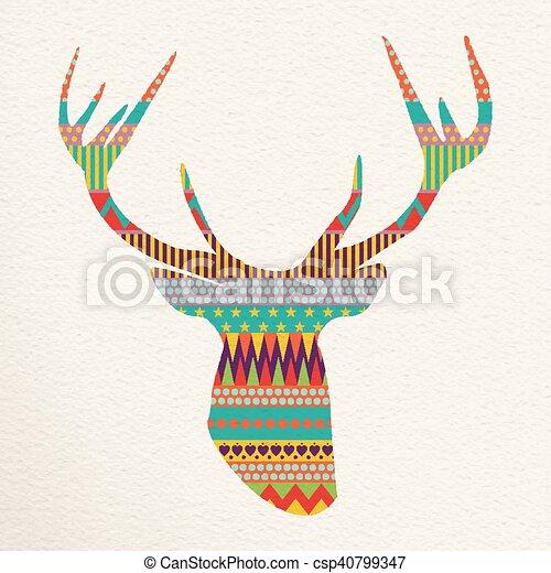 Kunst, hirsch, abbildung, farben, spaß, weihnachten.... EPS Vektor ...