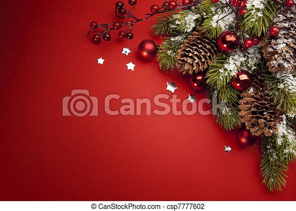 kunst, kerstmis kaart, groet - csp7777602