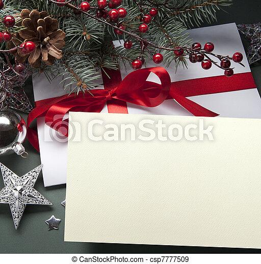 kunst, kerstmis kaart, groet - csp7777509
