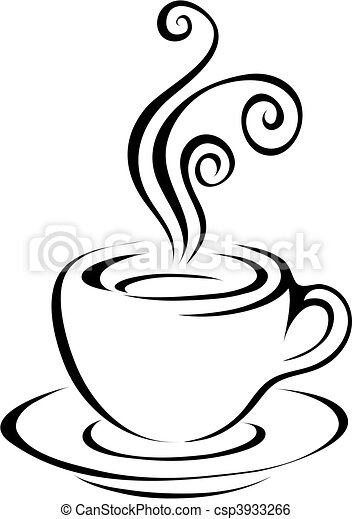 kunst, lijn, 5, koffie - csp3933266