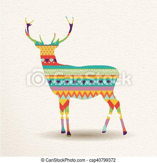Kunst, rentier, farben, design, spaß, weihnachten.... Vektoren ...