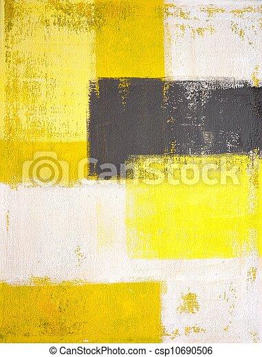 kunst, schilderij, grijze , gele - csp10690506