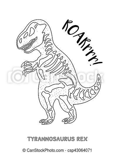 kunst skelet dinosaurus black lijn witte skeleton