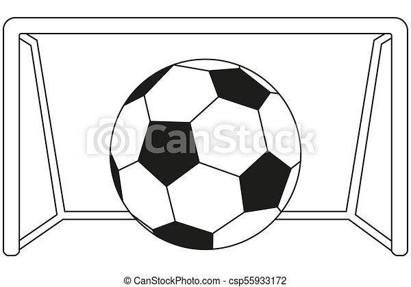 Kunst Ziel Spiel Schwarz Linie Fussball Weisses Ikone