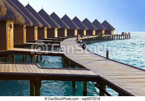 kupy, sunset., czas, wyspa, maldives., ocean, malediwy, willa, woda - csp5973318
