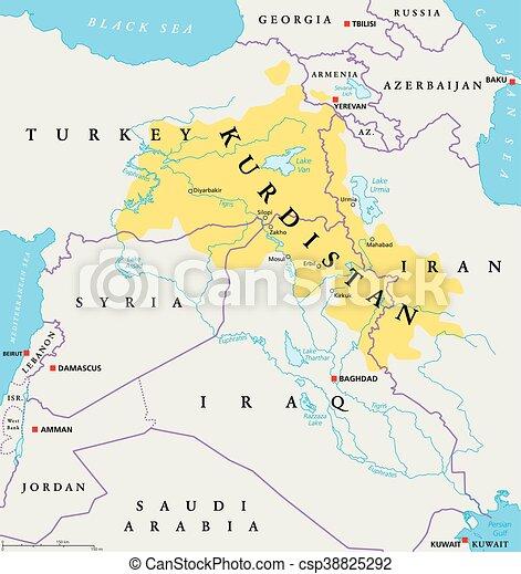 Kurdistan Kurdish Lands Map Kurdistan Kurdish Lands Political