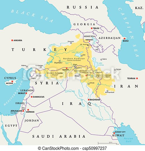 Cartina Kurdistan.Kurdistan Region Political Map Kurdish Inhabited Areas In The Middle East Northern Western Eastern And Southern Kurdistan Canstock