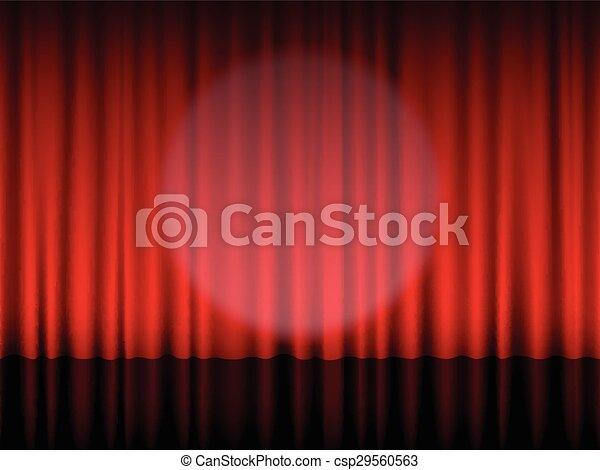 kurtyna, czerwony, teatr - csp29560563