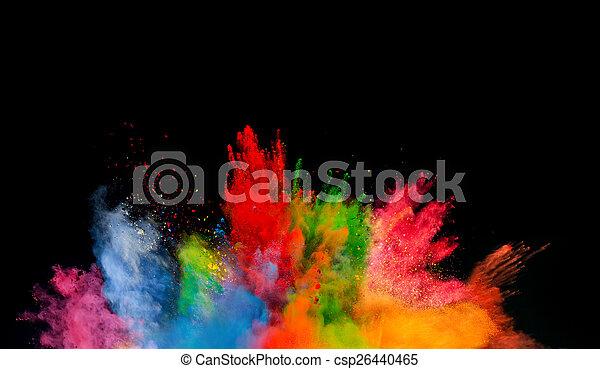 kurz, czarnoskóry, wybuch, barwne tło - csp26440465