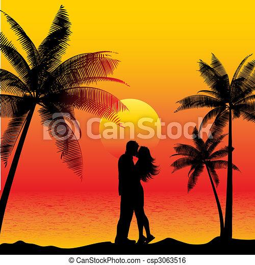 kussende , paar, strand - csp3063516