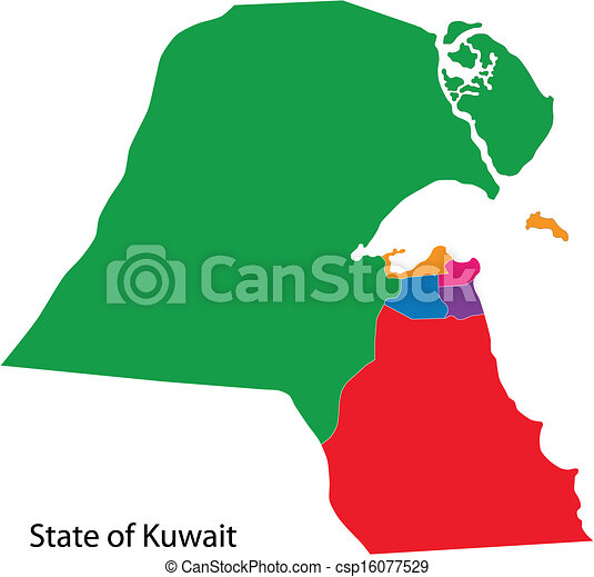 Kuwait map Map of administrative divisions of kuwait vector