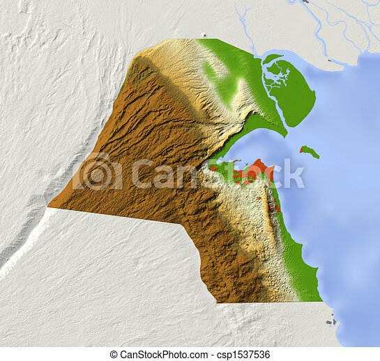 Kuwait shaded relief map Kuwait shaded relief map with stock
