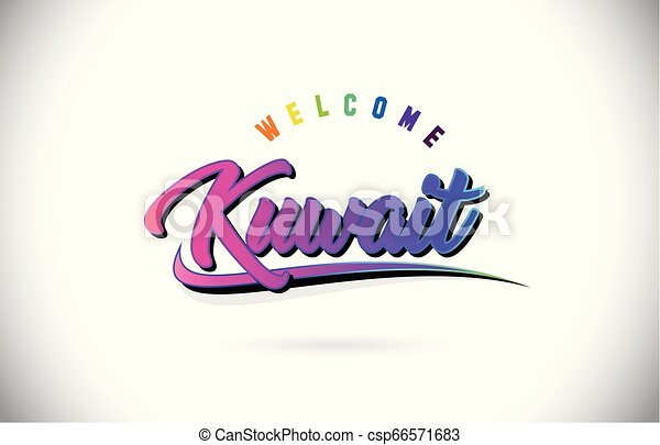 Kuwait Welcome To Word Text with Creative Purple Pink Handwritten Font and Swoosh Shape Design Vector. - csp66571683