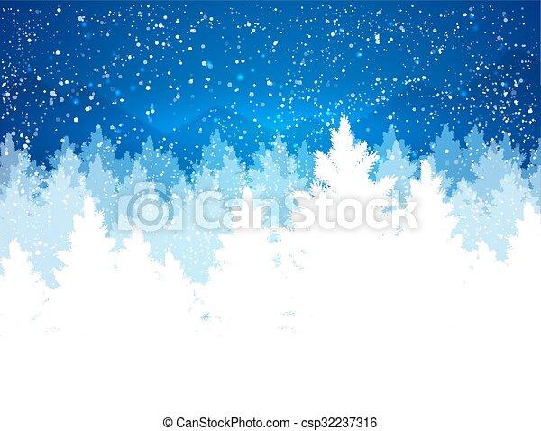 kväll, vinter landskap - csp32237316