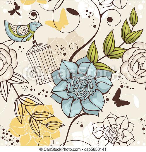 květinový, seamless, grafické pozadí - csp5650141