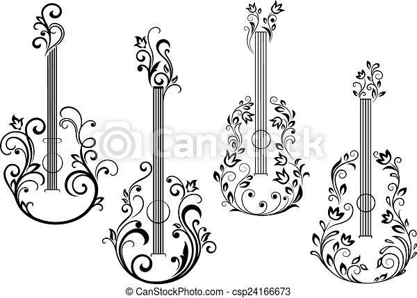 Kvetinovy Zvukovy Kytara Ikona Mrtvola Forma Ikona Abstraktni