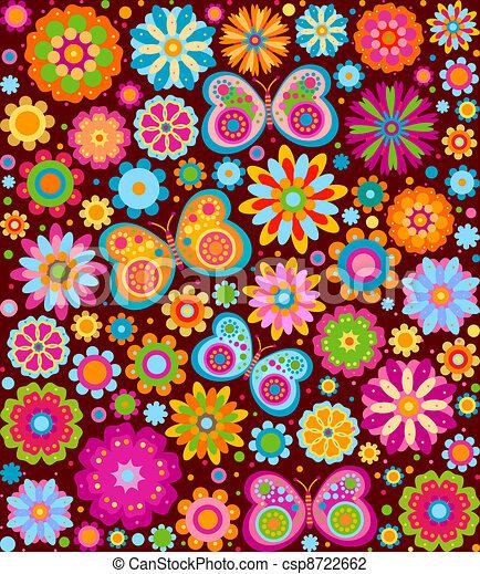 květiny, grafické pozadí - csp8722662