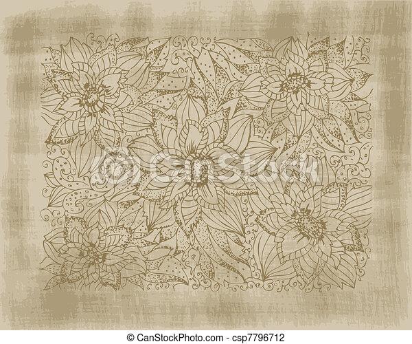 Kvetiny Grunge Kresleni Graficke Pozadi Rukopis