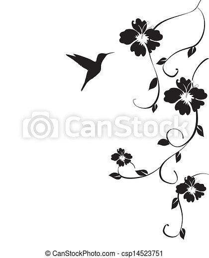 květiny, humminbird - csp14523751