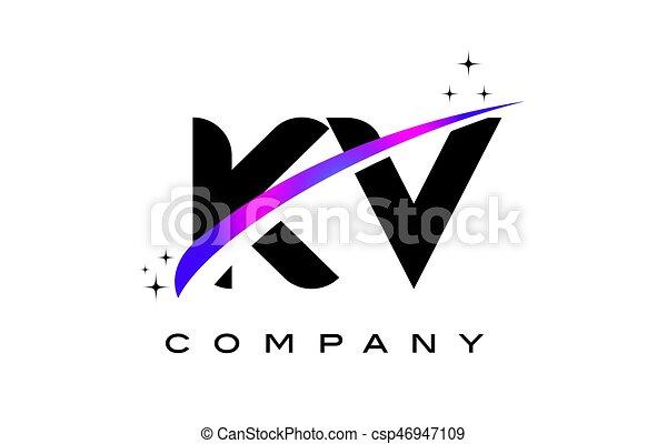 Kv K V Black Letter Logo Design With Purple Magenta Swoosh And Stars