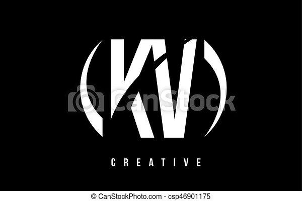 Kv K V White Letter Logo Design With Black Background Kv K V White