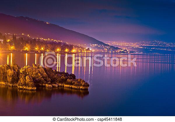 Kvarner bay evening view in Opatija - csp45411848