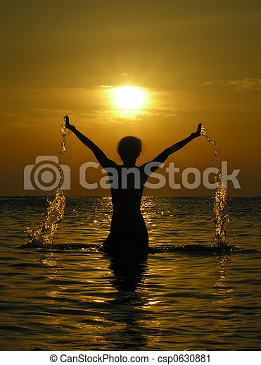 kvinde, solopgang, dro - csp0630881