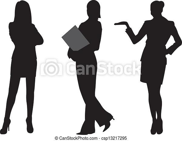 kvinde, vektor, silhuet, firma - csp13217295