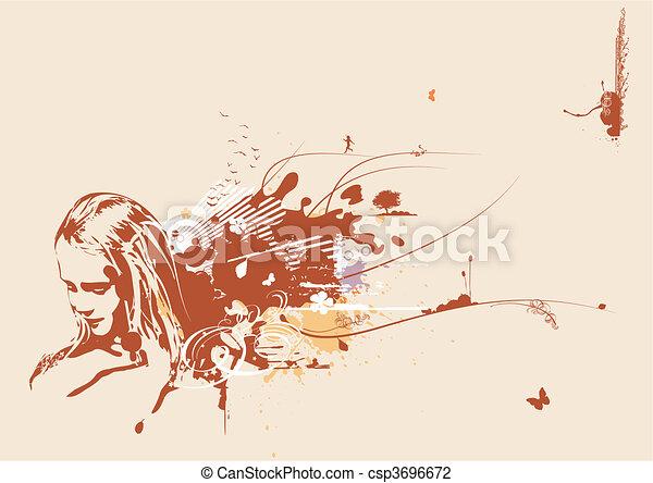 kvinna, ansikte, ung - csp3696672
