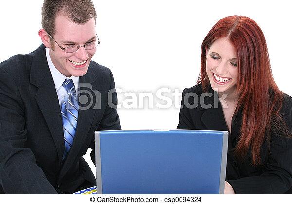 kvinna, dator, man - csp0094324