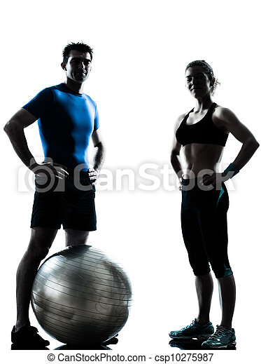 kvinna, genomkörare, exercerande, boll, fitness, man - csp10275987