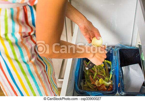 kvinna, henne, nymodig, ung, matlagning, kök - csp33900027