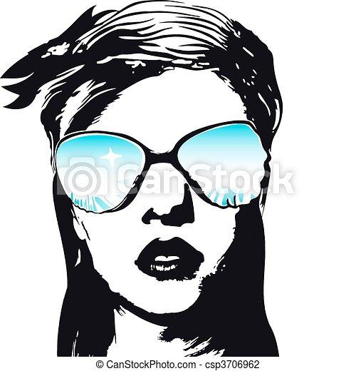 kvinna, mode, ansikte - csp3706962
